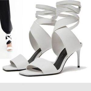 Zara white leather ankle wrap heel sandal